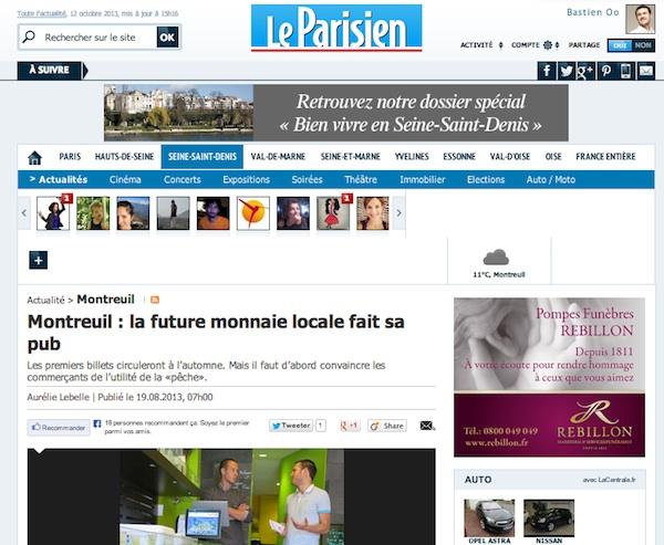"""Article Le Parisien """"la future monnaie locale fait sa pub"""""""