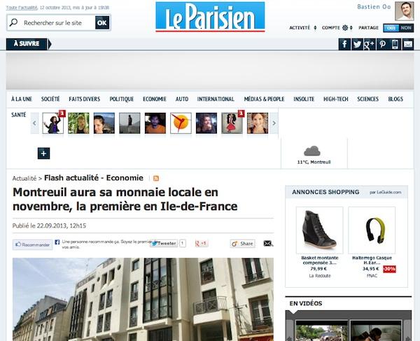 Article Le Parisien - Montreuil aura sa monnaie locale en novembre, la première en Ile-de-France
