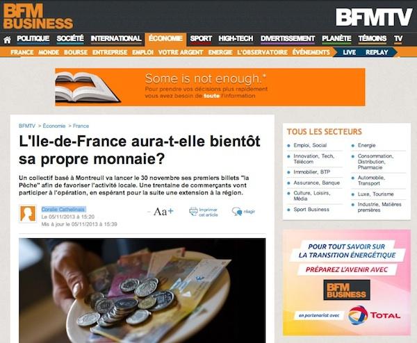 Article BFMTV sur la monnaie locale