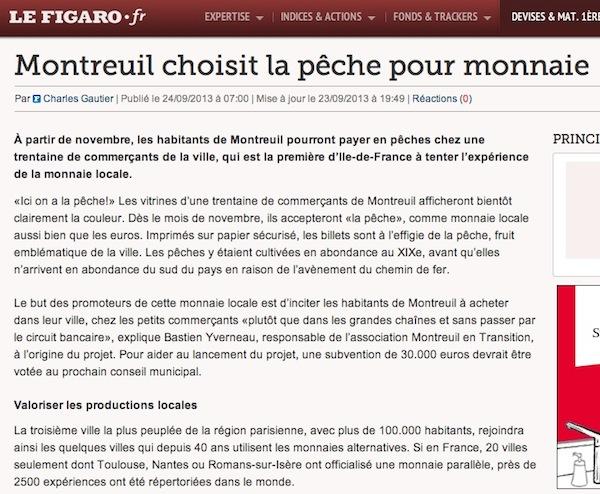 Article du Figaro sur la Pêche